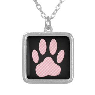 Colar Banhado A Prata Impressão cor-de-rosa e branco da pata do cão do