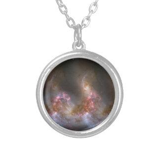 Colar Banhado A Prata Impressão da nebulosa da galáxia