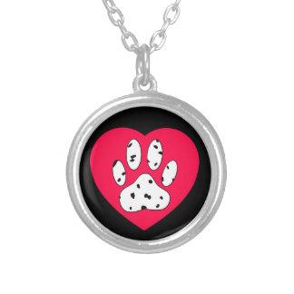 Colar Banhado A Prata Impressão Dalmatian da pata no coração vermelho
