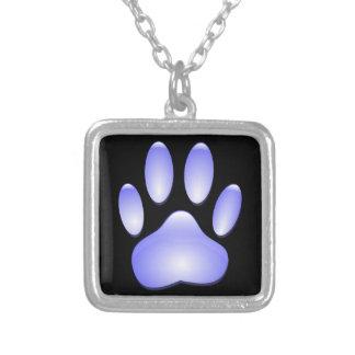 Colar Banhado A Prata Impressão de vidro da pata do cão