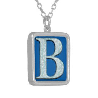Colar Banhado A Prata Iniciais florais azuis do monograma do impressão B