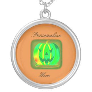 Colar Banhado A Prata Jack verde o Dia das Bruxas o'lantern Thunder_Cove