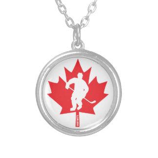 Colar Banhado A Prata Jogador da folha de bordo do hóquei de Canadá