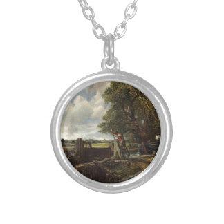 Colar Banhado A Prata John Constable - o fechamento - paisagem do campo