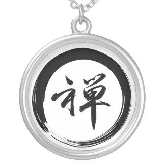Colar Banhado A Prata Jóia do símbolo do zen