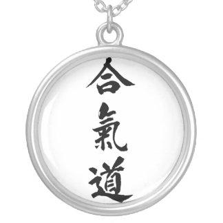 Colar Banhado A Prata Kanji do Aikido