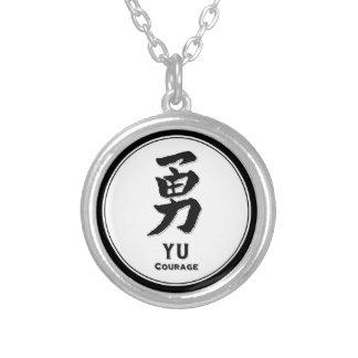 Colar Banhado A Prata Kanji do samurai da virtude do bushido da coragem
