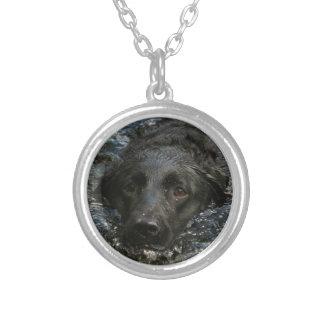Colar Banhado A Prata Labrador retriever preto customizável