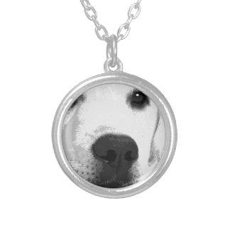 Colar Banhado A Prata Labrador retriever preto e branco