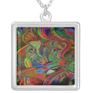 Colar Banhado A Prata Leão abstrato