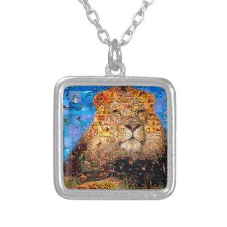Colar Banhado A Prata leão - colagem do leão - mosaico do leão - leão