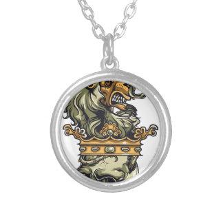 Colar Banhado A Prata leão do vintage no crânio inoperante