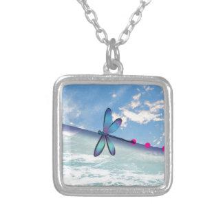 Colar Banhado A Prata libélula-mar-céu