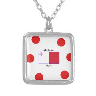 Colar Banhado A Prata Língua (de Malti) e design malteses da bandeira de