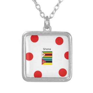 Colar Banhado A Prata Língua de Shona e bandeiras de Zimbabwe e de