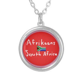 Colar Banhado A Prata Língua e bandeira de África do Sul do holandês
