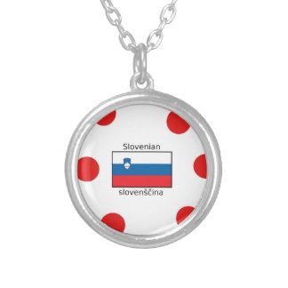 Colar Banhado A Prata Língua e design eslovenos da bandeira de Slovenia