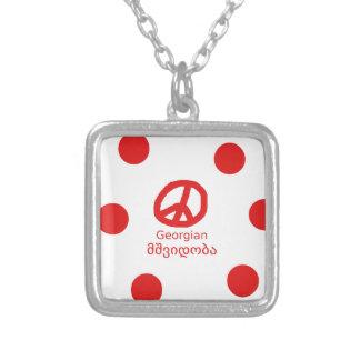 Colar Banhado A Prata Língua e design Georgian do símbolo de paz