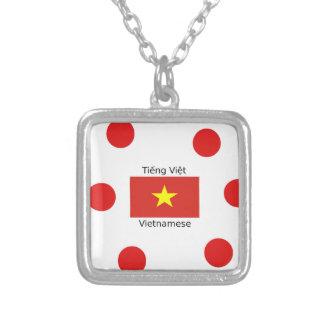 Colar Banhado A Prata Língua e design vietnamianos da bandeira de