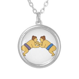 Colar Banhado A Prata Linha dos lutadores do Sumo de Rikishi mono