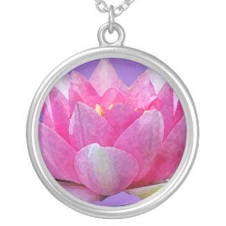 Colar Banhado A Prata Lírio de água Lotus