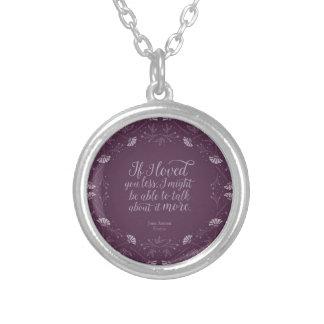 Colar Banhado A Prata Livro floral roxo Jane Austen de Emma das citações