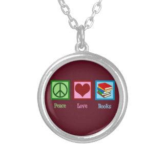 Colar Banhado A Prata Livros do amor da paz