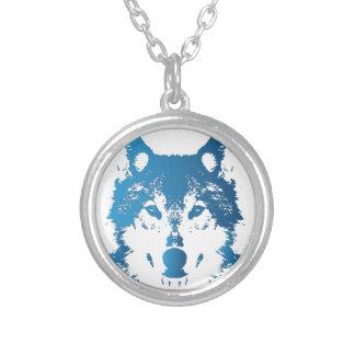 Colar Banhado A Prata Lobo do azul de gelo da ilustração