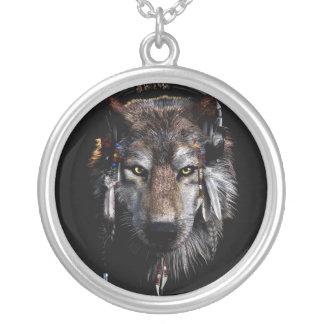 Colar Banhado A Prata Lobo indiano - lobo cinzento