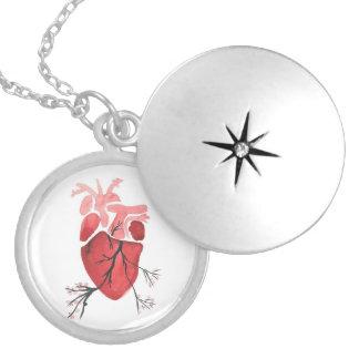 Colar Banhado A Prata Locket de florescência do coração