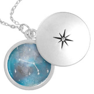 Colar Banhado A Prata Locket do Aries