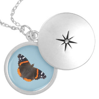 Colar Banhado A Prata Lockets do design da borboleta do almirante