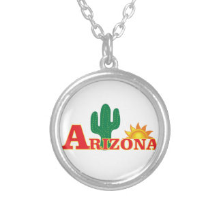 Colar Banhado A Prata Logotipo da arizona simples