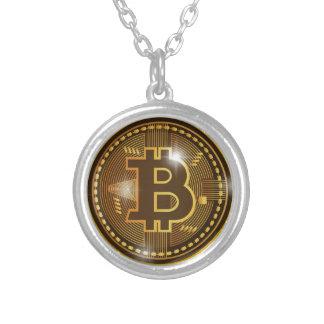 Colar Banhado A Prata Logotipo legal de Bitcoin e design do gráfico
