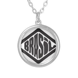 Colar Banhado A Prata logotipo retro de Brasil da forma do diamante