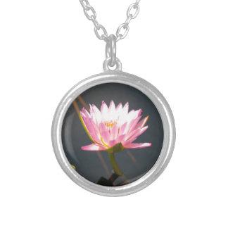 Colar Banhado A Prata Lotus cor-de-rosa Waterlily