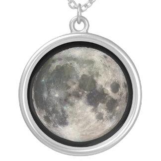 Colar Banhado A Prata Lua cheia