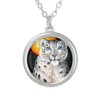 Colar Banhado A Prata Lua do leopardo de neve