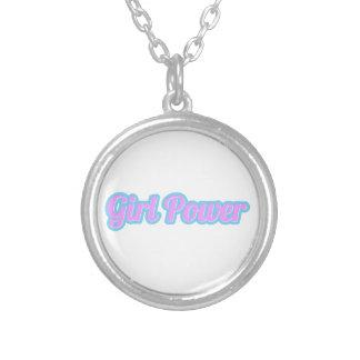 Colar Banhado A Prata Luz de poder da menina - rosa e luz - azul