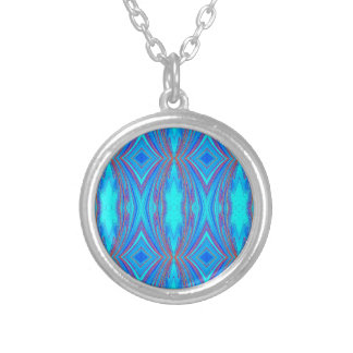 Colar Banhado A Prata Luz - teste padrão azul dos diamantes de turquesa