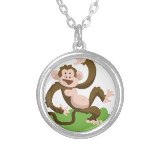 Colar Banhado A Prata macaco da dança