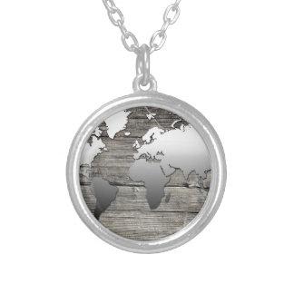 Colar Banhado A Prata madeira 13 do mapa do mundo