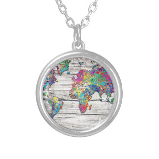 Colar Banhado A Prata madeira do mapa do mundo