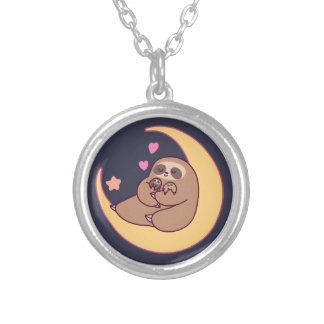 Colar Banhado A Prata Mama Preguiça e bebês da lua