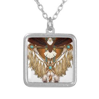 Colar Banhado A Prata Mandala da águia americana - revisada