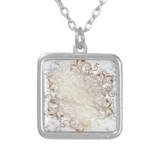 Colar Banhado A Prata Mandala - ouro & mármore