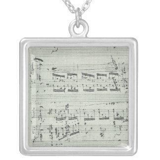 Colar Banhado A Prata Manuscrito da música do Polonaise de Chopin para o