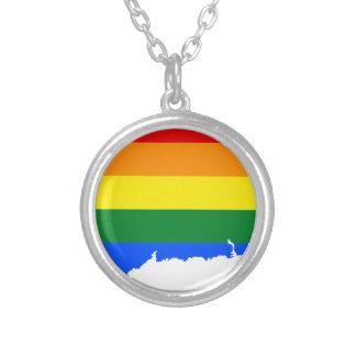 Colar Banhado A Prata Mapa da bandeira de Connecticut LGBT
