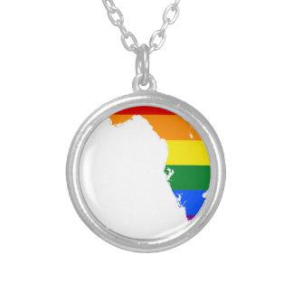 Colar Banhado A Prata Mapa da bandeira de Florida LGBT