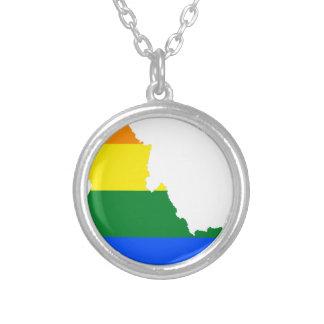 Colar Banhado A Prata Mapa da bandeira de Idaho LGBT